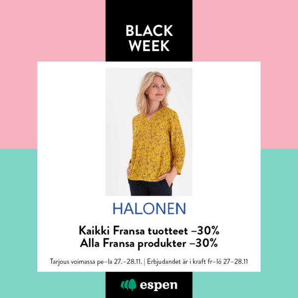 Halonen black week tarjous