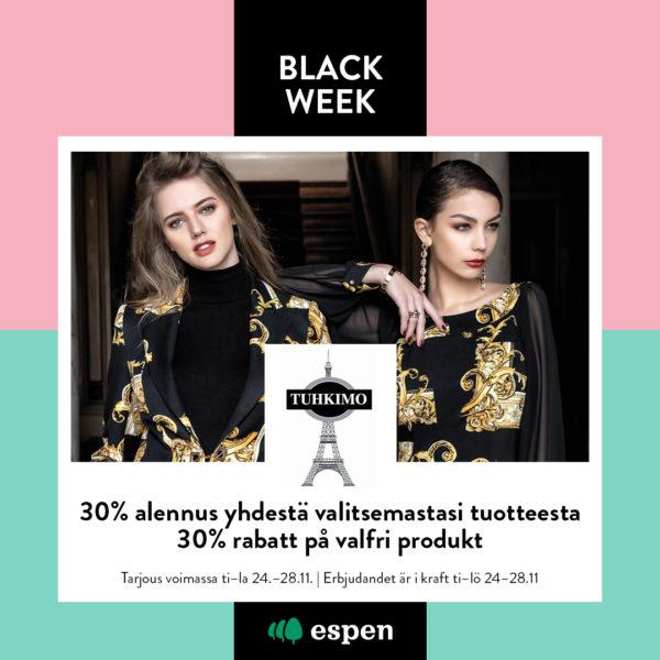 Tuhkimo black week tarjous